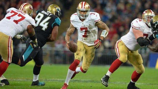 QB Colin Kaepernick and the 49ers are pounding opponents on the ground lately.