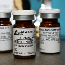 Vials of a product made by New England Compounding Center linked to in a fungal meningitis outbreak.