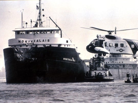 The Montrealais collided with another freighter in the St. Clair River in 1980. The last steamship in the Canadian Great Lakes fleet, it is being scrapped at Port Colborne, Ontario.