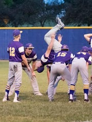 Indianola Senior Nate Banks does a back flip each time the Indianola Indians baseball team wins. Banks was a gymnast for 13 years.