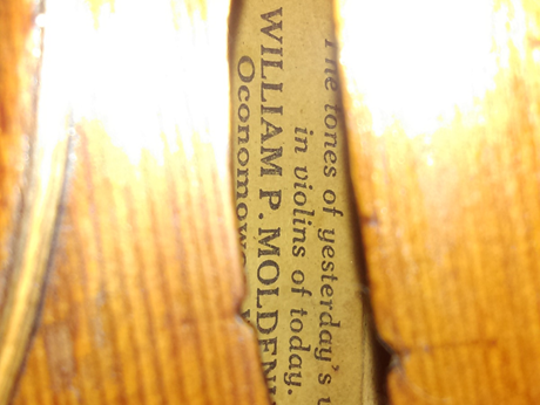 "Inside Grace Huenink's violin was a label that reads, ""The tones of yesterday's violins in violins of today. William P. Moldenhauer Oconomowoc, WI."""