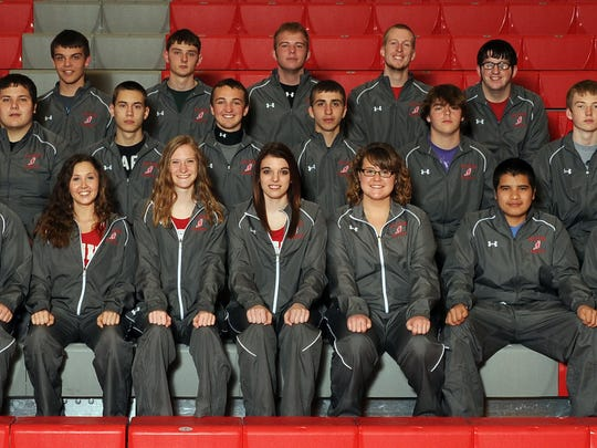 The 2015 Elgin High School varsity track team is, front row from left, Evan Augenstein, Wes Stillions, Kadi Vermillion, Brianna Appelfeller, Tailor Wolf, Lauren Ogan, Carlos Castillo, Cole Ritchie and assistant coach Teresa Vermillion; middle row from left, Bailey Barner, Kyle Johnson, Adrian Abrams, Kevin Conroy, Stephan Stefanka, Jed Doss, Will Stayner and head coach Amber Moore; back row from left, Michael Shoemaker, Nathan Hickman, Ethan Backensto, Luke Myers, Carter Bane, Logan Buchanan, Jacob Lee and assistant coach Travis Stout.