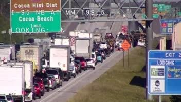Lanes were blocked on Interstate 95 near Cocoa Tuesday morning for a vehicle fire.