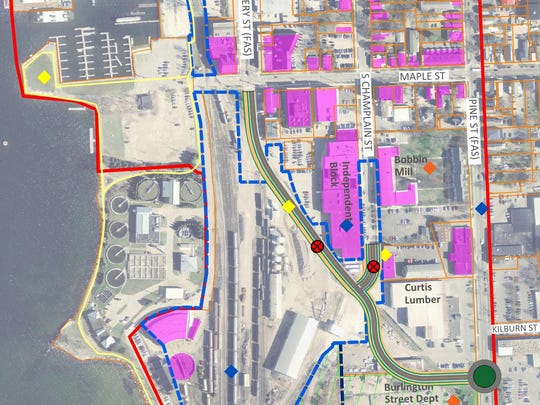 A proposed bypass connecting Pine and Battery streets is shown here in green. This draft proposal was approved by Burlington City Council in November 2016 as the preferred, lower-cost alternative of several options.