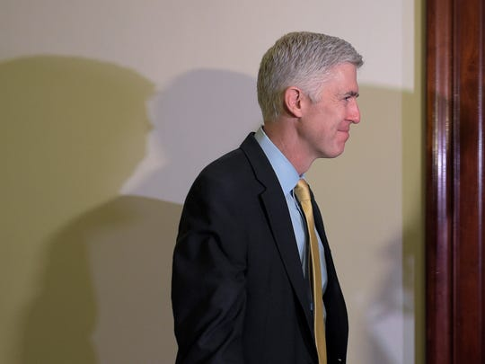 Supreme Court nominee Neil Gorsuch arriving for another
