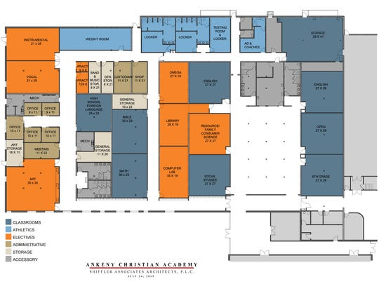 The design plan for the west end expansion of the Ankeny Christian Academy.