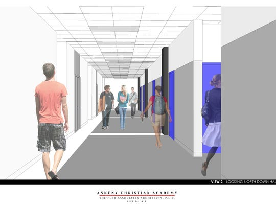 A rendering of a hallway in the west end expansion of Ankeny Christian Academy.