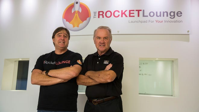 The Rocket Lounge founder and CEO Dieter Kondek, left, stands with Chief Operating Officer Bud Stoddard at The Rocket Lounge headquarters in Naples on Tuesday, March 6, 2018.