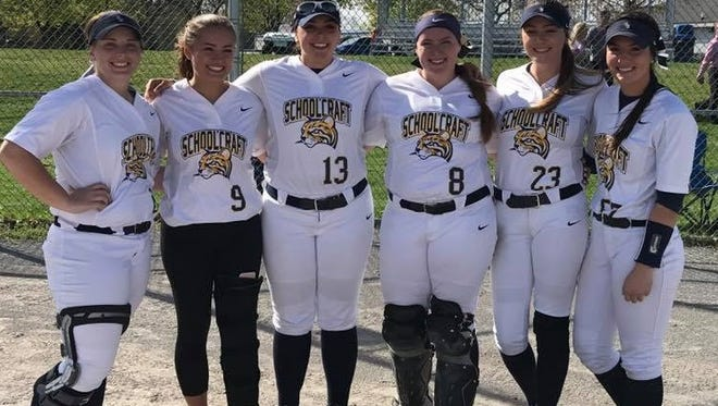 On 'Sophomore Day,' Schoolcraft College's (from left) Kelsie Powell, Alaina DeFrain, Rosie Garvin, Caitlin Fitzpatrick, Kerry Prowse and Kassidy Lipinski enjoy their final games at Ford Field in Livonia.