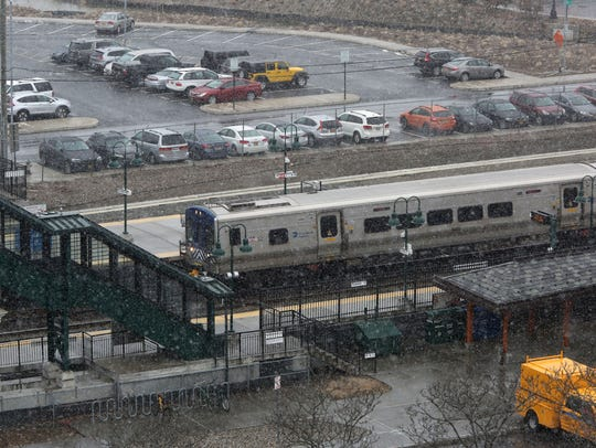 11:45 a.m.: A Metro-North train pulls in at the Tarrytown