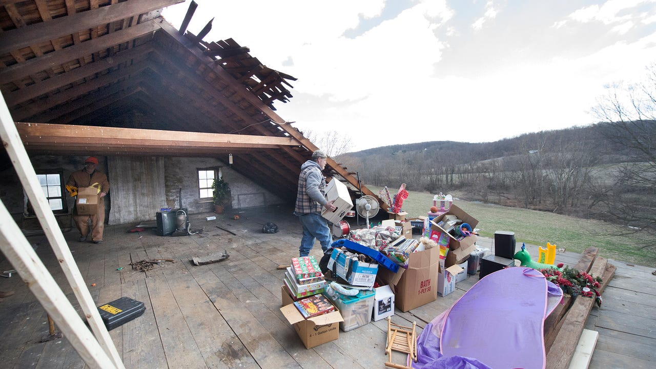 Residents react to seeing their roofs torn off and finding a building collapsed in Wrightsville and Hellam Townships Sunday after a storm tore through Saturday.
