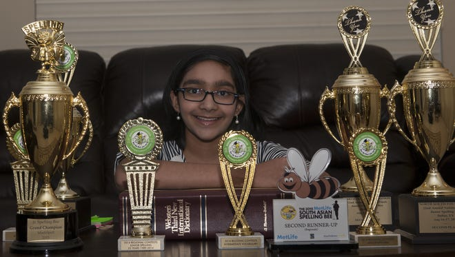National Spelling Bee contestant Shruthika Padhy pose for a photo at her home in Cherry Hill.