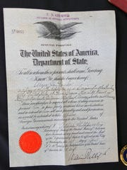 The diplomatic passport of U.S. Army Maj. Amos Peaslee,