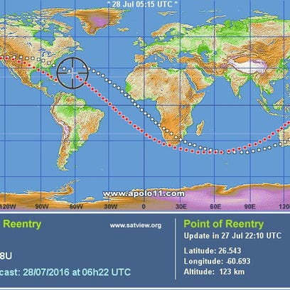 A Satview.com image maps the trajectory of the reentry