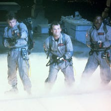 "Harold Ramis, left, Dan Aykroyd, Bill Murray and Ernie Hudson in a scene from the 1984 motion picture ""Ghostbusters."""