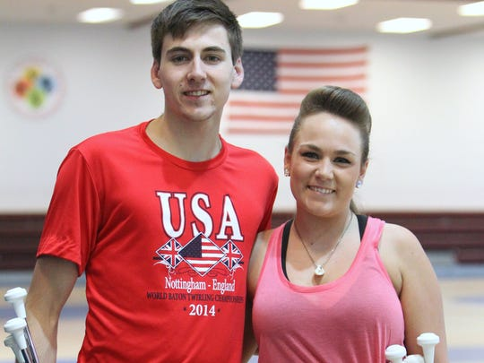 Competitive baton twirler Richie Terwilliger of Suffern and his his sister, Kristina, practice at the T. St. Lawrence Community, Health & Sports Center in Hillburn July 30, 2014.