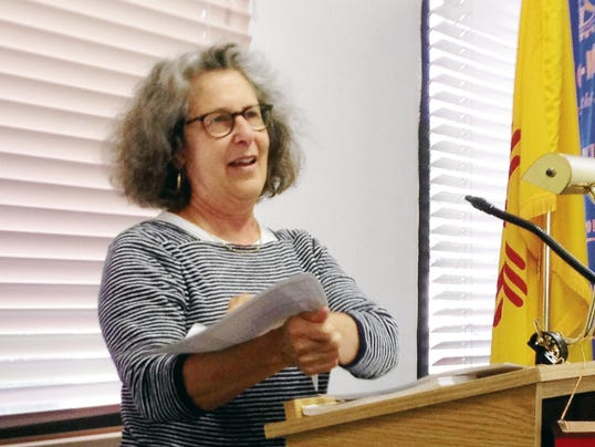 Lee Gruber, director of the Silver City Clay Festival, discusses the upcoming event at Thursday's Silver City/Grant County Chamber of Commerce meeting. Randal Seyler - Sun-News