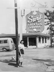 Eleanor Serich outside Bernard's Surf in 1952.