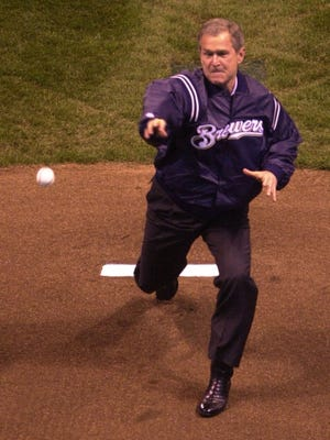 President George W. Bush throws out the first pitch at Miller Park in 2001. The pitch fell short of home plate.
