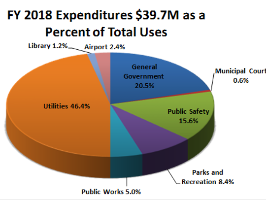 A pie chart shows where Ruidoso's revenues are spent.