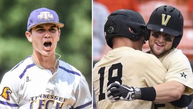 Tennessee Tech's Ethan Roberts, left, and Vanderbilt's Pat DeMarco (18) and Philip Clarke (5) will play in Super Regionals this weekend.