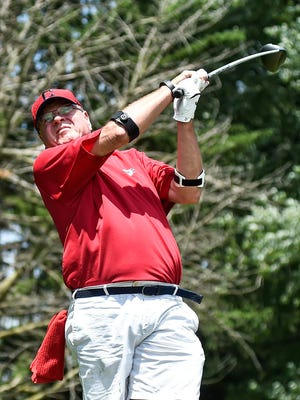 Cleveland TV personality Bruce Drennan watches his ball after teeing off at the Marion County Youth Foundation Charity-Celebrity Golf & Dinner Outing at the Marion Country Club in 2016. Due to heavy rain and flooding in the area over the last several days, the event was pushed back from Wednesday to next Wednesday, June 26, at the Marion Country Club.