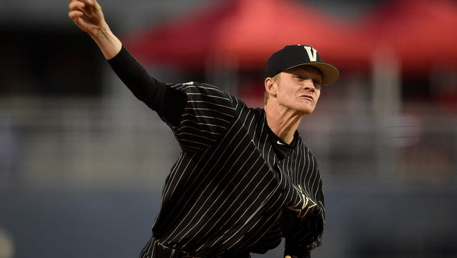 Vanderbilt pitcher Chandler Day (27) throws against Belmont during the second inning at First Tennessee Park in Nashville, Tenn., Wednesday, March 22, 2017.
