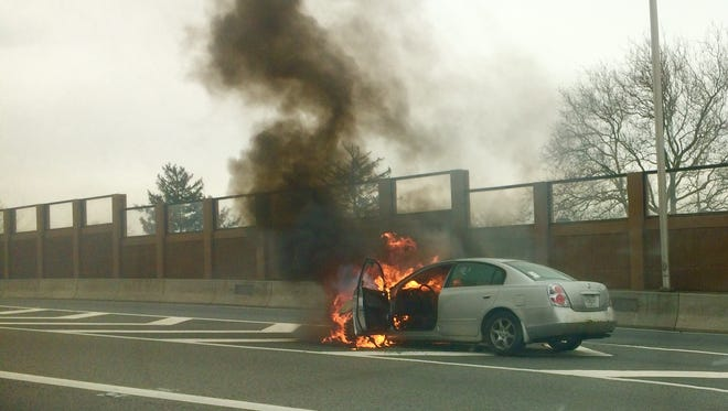 A car caught fire Monday afternoon on Route 3 in Clifton, N.J.