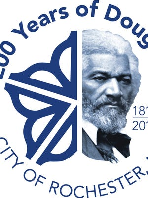The logo for the city of Rochester includes a tribute to civil rights icon Frederick Douglass that marks the 200th anniversary of his birth.