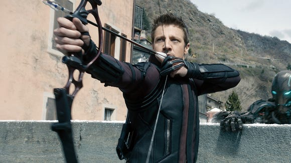 """Seen here in """"Avengers: Age of Ultron,"""" super-archer Hawkeye (Jeremy Renner) was missing in """"Infinity War"""" but will be back in the fourth """"Avengers"""" movie."""