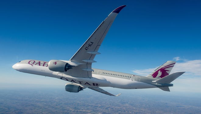 An image of an Airbus A350 in the paint scheme of Qatar Airways.