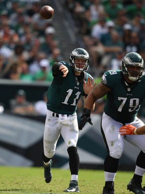 Eagles quarterback Carson Wentz passes in the fourth quarter against the Cleveland Browns at Lincoln Financial Field. Philadelphia defeated Cleveland 29-10.