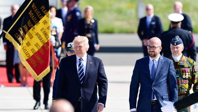 President Trump and Belgium Prime Minister Charles Michel after the president's arrival in Belgium.