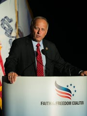 U.S. Rep. Steve King speaks during the Faith and Freedom Coalition Dinner at the Iowa State Fairgrounds in Des Moines, Iowa, on Saturday, Sept. 19, 2015.
