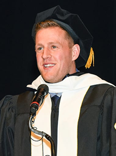 Houston Texans star defensive end JJ Watt gives a speech at the Baylor College of Medicine's commencement ceremony May 29. The Pewaukee native received an honorary doctorate degree for his impressive humanitarian work following Hurricane Harvey last summer.