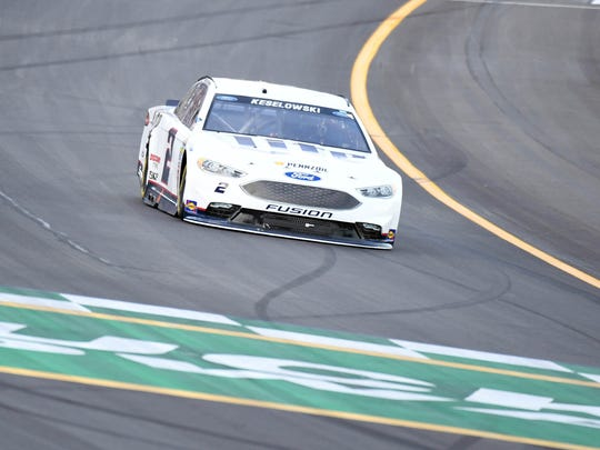 NASCAR Sprint Cup Series driver Brad Keselowski (2) during the Quaker State 400 presented by Advance Auto Parts at Kentucky Speedway.