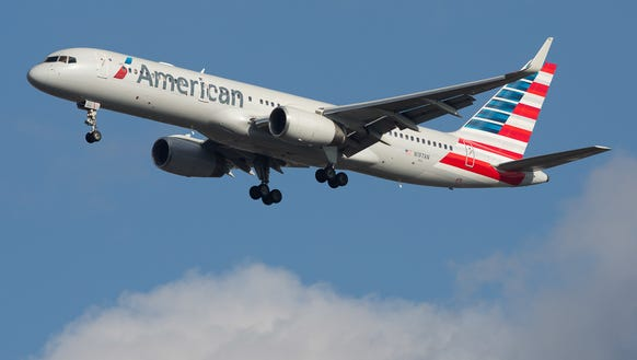 An American Airlines Boeing 757-200 lands at New York's