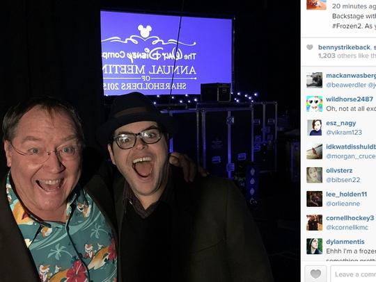 Josh Gad and John Lasseter celebrate 'Frozen 2'