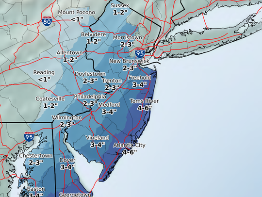 The estimated snowfall from the nor'easter expected