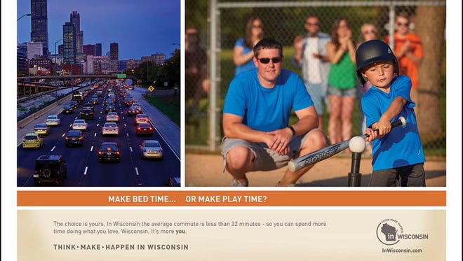 Here's one of the ads that will target young professionals who graduated from UW campuses and moved to Chicagoland to work. Wisconsin wants them back.