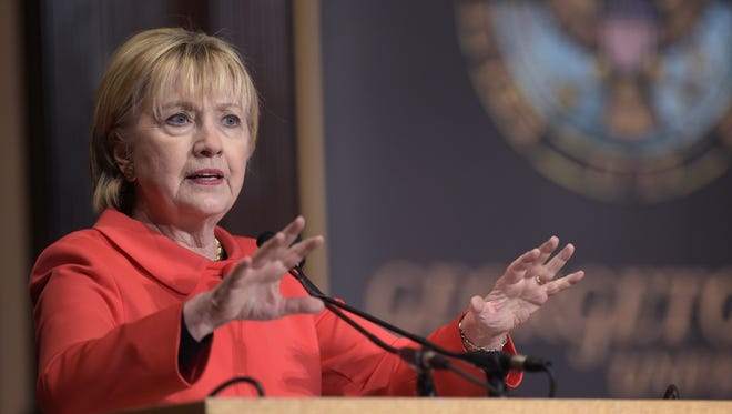 Hillary Clinton speaks at Georgetown University in Washington on March 31 on the role that women can play in international politics and peace-building efforts.