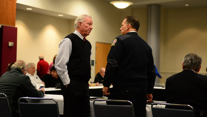 Ocean City Mayor Rick Meehan speaks to Ocean City Police Chief Ross Buzzuro before The Motor Event Task Force met at the Roland E. Powell Convention Center on Wednesday, Jan. 17, 2018.