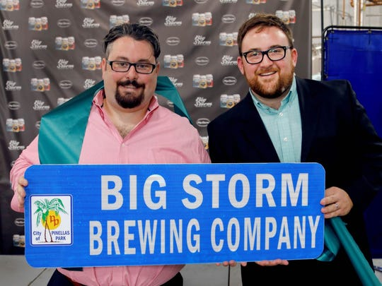 LJ Govoni, left, and Mike Bishop of Big Storm Brewing and Seaboard Craft Holdings.