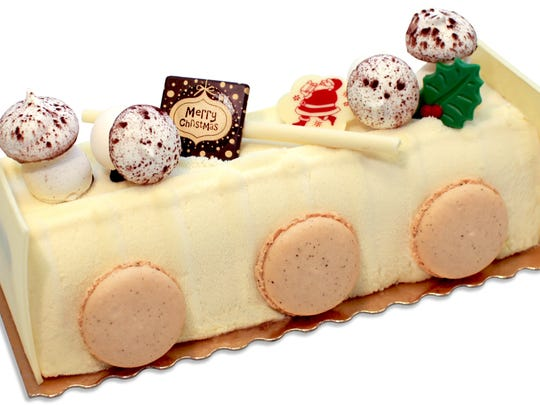 """The Hudson,"" a white buche de Noel at Sook Pastry in Ridgewood"