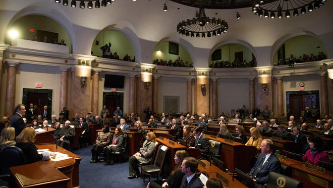 Kentucky Governor Matt Bevin speaks during a joint session of the General Assembly in his State of the Commonwealth and Budget address at the Kentucky State Capitol in Frankfort, Ky., on Tuesday, January 16, 2018.