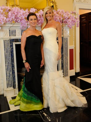 <b>Swan Ball 2014 co-chairs Peggy Kinnard</b>, left, wears a gown by <b>Donald Deal</b> and <b>Betsy Wilt</b> wears a <b>Vera Wang</b> gown for The Swan Ball 2014, at fundraiser for Cheekwood, held in the mansion at Cheekwood.