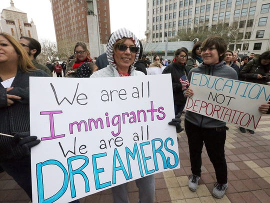 Some people in attendance at a Dreamers rally Sunday