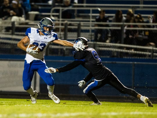 Brody Dunlop filled in at quarterback and led Cedar Crest to a 35-21 come-from-behind win over McCaskey on Friday night.