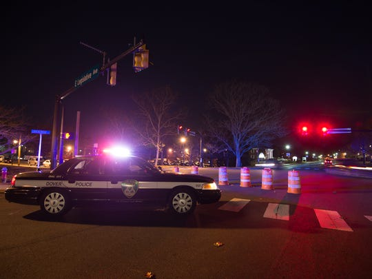 A City of Dover Police car at the intersection of East Loockerman Street and Legislative Avenue in Dover for the City of Dover Tree Lighting. A 4.1 magnitude earthquake struck about 7 miles northeast of Dover Air Force Base at 4:47 p.m.