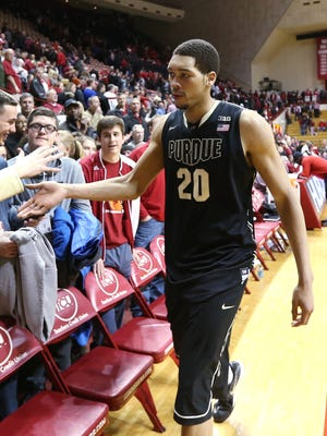 Purdue Boilermakers center A.J. Hammons leaves the floor with a win over Indiana. Indiana hosted Purdue at Assembly Hall on Thursday, February 19, 2015.